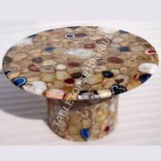 30 Agate Round Coffee Table Top With Stand Home Furniture Decorative E1339
