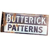 Antique Clothing Porcelin Sign Butterick Patterns Double Sided