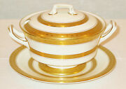 Rare Royal Worcester Coronet 3pc Covered Gravy / Boat Tureen W/ Underplate