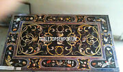 4'x3' Black Dining Marble Table Top Collectible Arts Marquetry Arts Inlay Decor