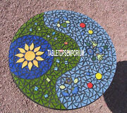 28'' Marble Round Mosaic Coffee Top Table Multi Inlay Restaurant Furniture Decor