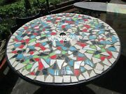 54 Black Marble Side Table Inlay Room Furniture Collectible Arts Mosaic Decor