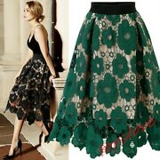 Ladies Hollow Out Lace Skirt Floral Knee Length Skirt High Waist A-ling Dresses