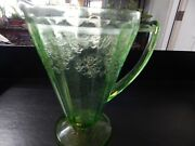 Jeannette Cherry Blossom Green Depression Glass Qt Water Pitcher/cone Shape