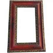 Antique And Rare 18th Century, Large Carved Gilded And Chinoiserie Baroque Frame