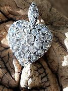 Just Reduced Antique Rose-cut Diamond Set Heart Pendant Set In Silver On Gold