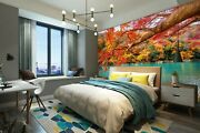 3d Leaves River Boat 942rai Wallpaper Mural Self-adhesive Removable Sticker Amy