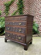 Antique English Chest Of Drawers Nightstand End Table Georgian Carved Oak 19th C