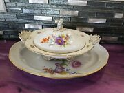 Meissen Covered Serving Bowl With Serving Tray, Large Size