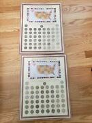 2 Sets Complete 50 State Quarters Album Collectors Map 1999-2008 All Included