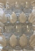 Vintage Set Of 6 Cut Glass Claret 6 Great Condition Wine Cordial