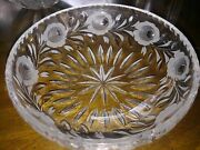 German Hand Cut Lead Crystal Compote Fruit Bowl Floral Pattern 9 3