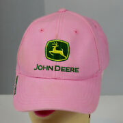 Womens John Deere Pink Baseball Cap Hat Embroidered Hook And Loop Owners Edition