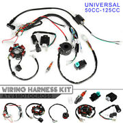 50125cc Mini Atv Complete Wiring Harness Stator 6 Coil Pole Ignition Kits New