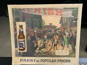 Vintage Pabst Blue Ribbon Beer Pbr Bicycle Race Sign 25 X 22
