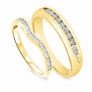 1/2 Carat Round Cut Diamond His And Hers Wedding Band Set Solid 10k Yellow Gold