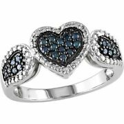 Round Simulated Diamond Cluster Heart Ring 14k Gold Over 925 Sterling Silver