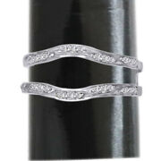 1/5 Ct Diamonds 14k White Gold Ring Guard Wrap Solitaire Wrap Enhancer Pave Set