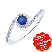 Sapphire And Real Diamond Solitaire With Accent Wedding Ring 14k White Gold