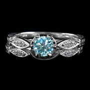 3.5 Ct Light Blue Moissanite 2 Piece Bridal Set Wedding Rings In Sterling Silver