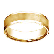 14k Yellow Gold Comfort Fit Satin High Polished Bevel Edge Band Ring Sz 7