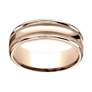 14k Rose Gold 7mm Comfort-fit High Polished With Milgrain Band Ring Sz-9