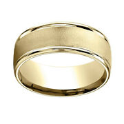 14k Yellow Gold 8mm Comfort Fit Wire Brush Finish High Polished Band Ring Sz 10