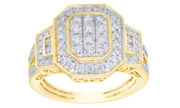 1 Ct Round Diamond Cluster Octagonal Frame Vintage Style Ring In 10k Yellow Gold