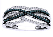 0.25 Cttw Natural Diamond Layered Crossover Band Ring 10k White Gold