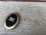 Vtg Wwii Oval Onyx Sweetheart Locket Crossed Cannons And Bullet Field Artillery