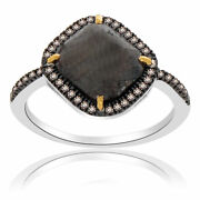 Heavy 3.33 Ct Black Rough And Brown Diamond 18k Gold And Sterling Solitaire Ring 7.5