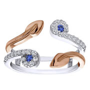 0.41 Ct Sapphire And D/vvs1 Two Stone Leaf Ring Guard Enhancer 14k Two Tone Gold