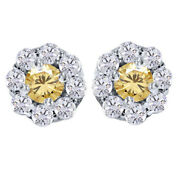Sterling Silver 4.25 Ct Round Golden Genuine Moissanite Pave Halo Earrings