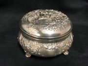 German Dresden 800 Round Silver Repoussandeacute Trinket Box With Figures And Foliage