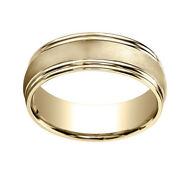 14k Yellow Gold 7.5mm Comfort Fit Satin Finish Double Round Edge Band Ring Sz 8