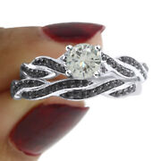 3.75 Ct Genuine Moissanite Engagement Bridal Set Ring In Sterling Silver