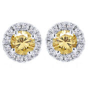 2.25 Ct Golden Moissanite Solitaire Prong Halo Stud Earrings In Sterling Silver
