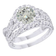 10k White Gold 2.75 Ct Genuine Moissanite Engagement Bridal Set Ring Jewelry