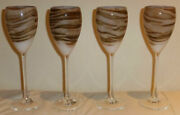 Set Of 4 Steven Maslach Earth Art Glass Wine Goblets Signed And Dated 7-80 Mint
