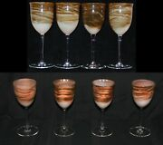 Vintage Set Of 8 Steven Maslach Earth Art Glass Wine Goblets Signed And Dated Mint