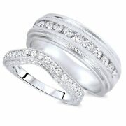 Solid 10k White Gold 1/4 Carat Round Cut Diamond His And Hers Wedding Band Set