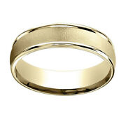 14k Yellow Gold 6mm Comfort-fit Wired-finished High Polished Band Ring Sz-10