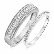 14k Solid White Gold 3/8 Carat Round Cut Diamond His And Hers Wedding Band Set