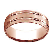 14k Rose Gold 7mm Comfort Fit Satin Finish Parallel Grooves Band Ring Sz 11