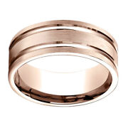14k Rose Gold 8.00 Mm Comfort-fit Menand039s Wedding Band Ring Sz-10