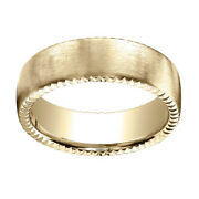 18k Yellow Gold 7.5mm Comfort Fit Rivet Coin Edging Carved Band Ring Sz 8