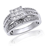 10k Solid White Gold 1 Ct Round And Baguette Natural Diamond Engagement Ring New