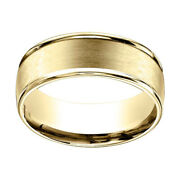 14k Yellow Gold 8mm Comfort Fit Satin Finish Round Edge Carved Band Ring Sz 10