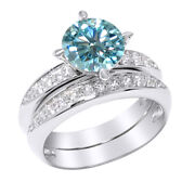 6 Ct Light Blue Moissanite Sterling Silver Bridal Set Wedding Ring Jewelry