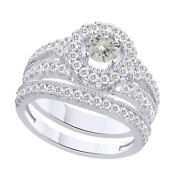 5 Ct Round Genuine Moissanite Bridal Engagement Rings In Sterling Silver